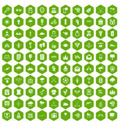 100 arrow icons hexagon green vector image