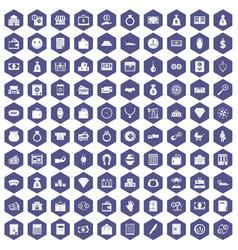 100 deposit icons hexagon purple vector