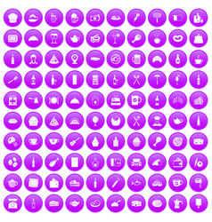 100 restaurant icons set purple vector image