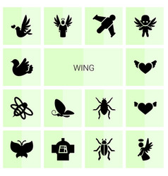 14 wing icons vector