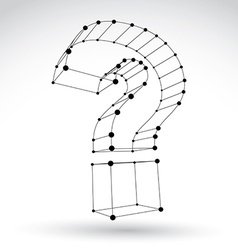 3d mesh stylish monochrome web question mark sign vector