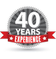 40 years experience retro label with red ribbon vector