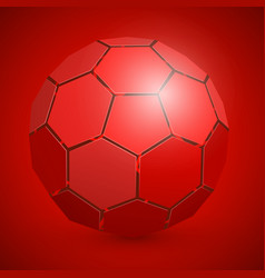 abstract soccer 3d ball red vector image