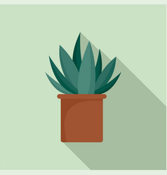 aloe cactus pot icon flat style vector image