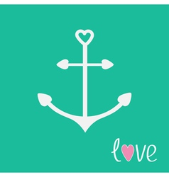 Anchor with shapes of heart love card vector