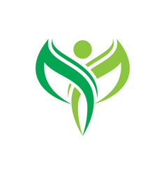 Angel leaf human ecology logo image vector