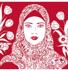 Arab girl with tulips vector