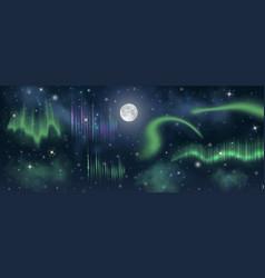 Aurora borealis on night sky with moon stars vector
