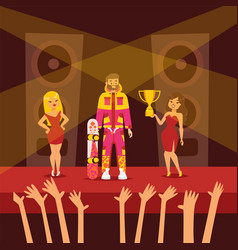 Awarding snowboarder character woman give cup vector
