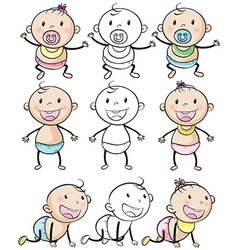 Baby boys and girls in different positions vector