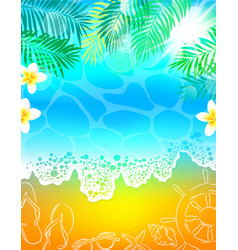 Background sea beach vacation palm tree vector