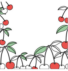 Background with color sections of cherries fruits vector