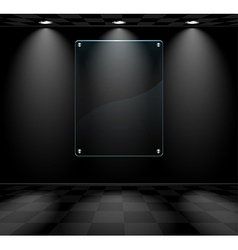 Black room with glass placeholder vector image