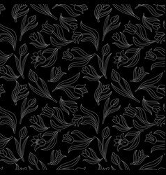Black white seamless floral pattern with tulips vector
