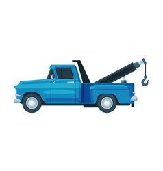 blue tow truck evacuation car road assistance vector image