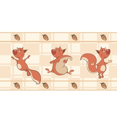 Border for wallpaper with squirrels cartoon vector