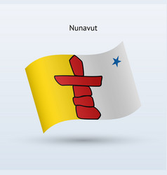 Canadian territory of nunavut flag waving form vector