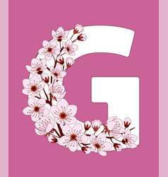 Capital letter g patterned with cherry blossom vector