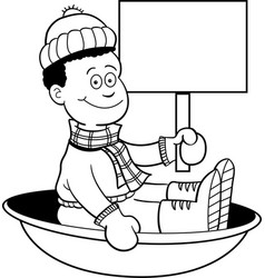 cartoon african american boy sitting in a sled and vector image