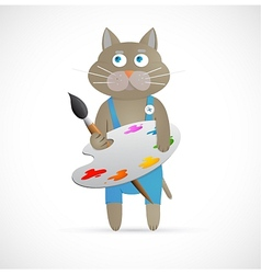 Cartoon cat as artist with palette vector image