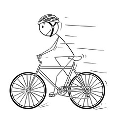 cartoon of man with helmet riding on bicycle vector image