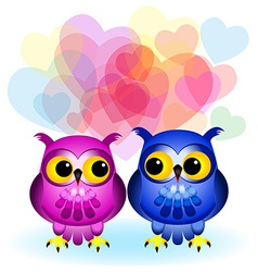 Cartoon owls in love on white vector image