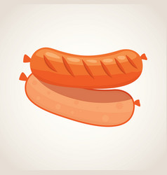 Cartoon sausage grilled product on a white vector