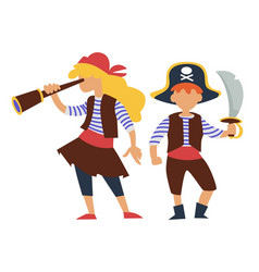 children in pirates costume kids birthday party or vector image