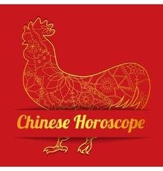 Chinese horoscope background with golden cock vector