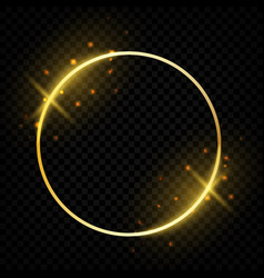 circle shiny golden frame glowing round border vector image