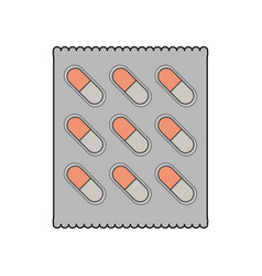 color image cartoon pack for capsule pills vector image