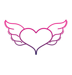 Color line heart with wings symbol love art vector