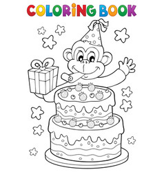 coloring book cake and party monkey vector image