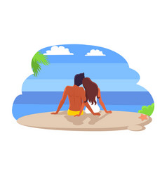 Couple sitting by seaside vector
