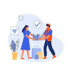 courier delivered parcel home to customer vector image