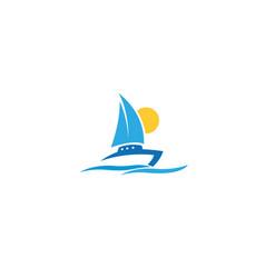 creative boat wave logo vector image