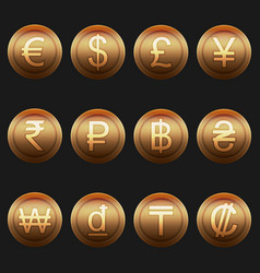 currency coins symbols icons metallic bronze set vector image