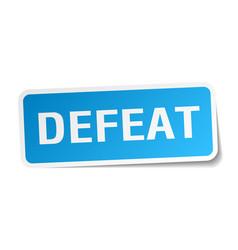 Defeat square sticker on white vector