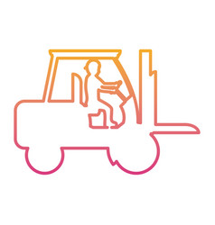 Degraded line pictograph laborer with forklift vector