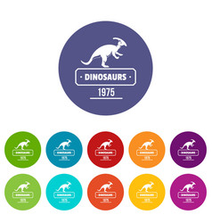 dinosaur lizard icons set color vector image
