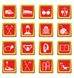 Disabled people care set simple style vector