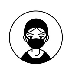 doctor woman professional person block line vector image