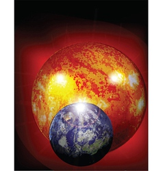 earth and sun in cosmos vector image vector image