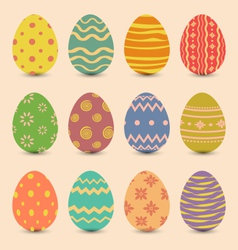 Easter set old ornamental eggs with shadows vector image