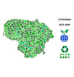 eco green mosaic lithuania map vector image