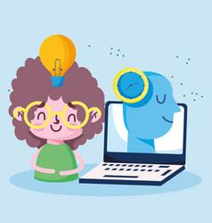 Education online student boy laptop profile vector