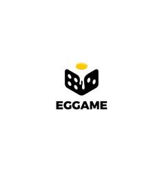 Egg with dice logo design concept vector