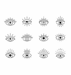eye boho design outline eyes symbols vector image