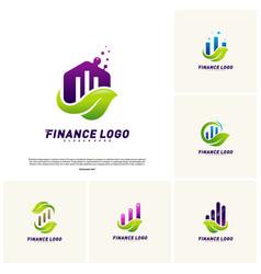 Financial with leaf logo design concept green vector