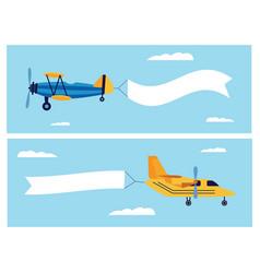 flat cartoon banner set retro airplane dragging vector image